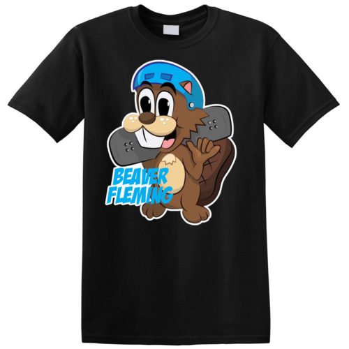 Skating Beaver Tee Black